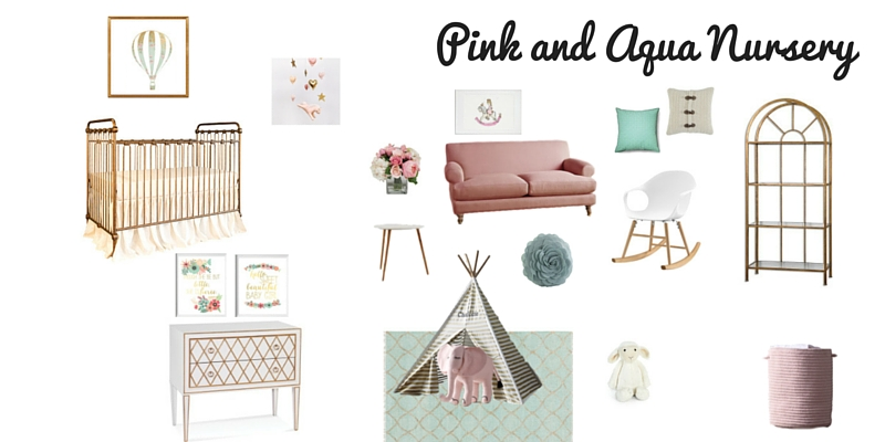 Pink, Aqua and Gold Nursery