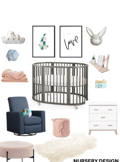 blue and blush nursery