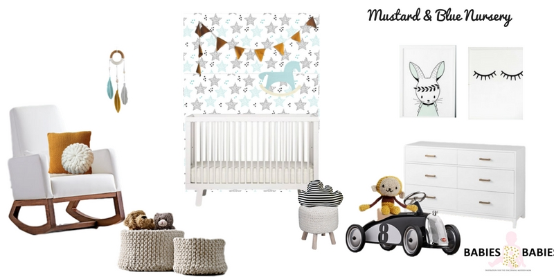Mustard and Blue Modern Nursery