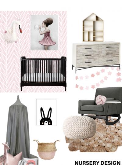 pink and black nursery
