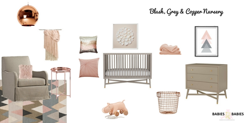 Blush, Grey and Copper Nursery Design