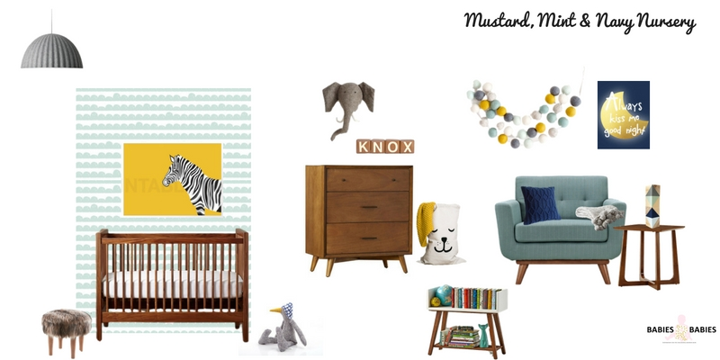 Mustard, Mint AND Navy Nursery