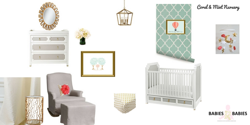 Mint and Coral Nursery Design Board