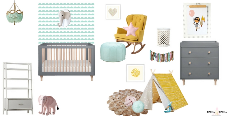 Mint and Yellow Nursery Design
