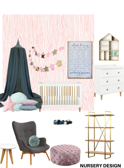 teal and pink nursery