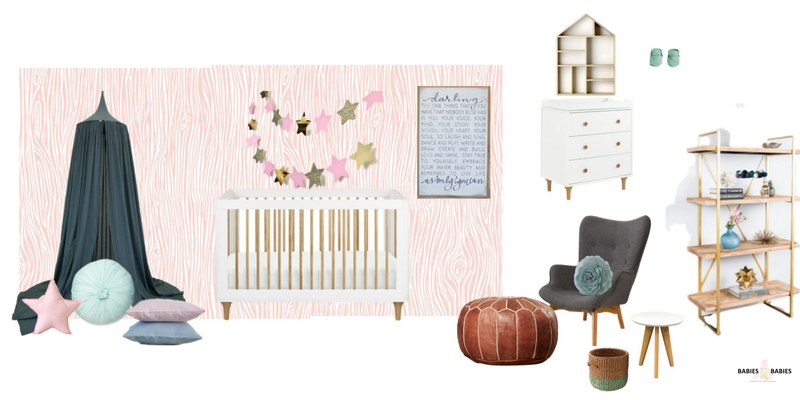 Teal and Pink nursery design