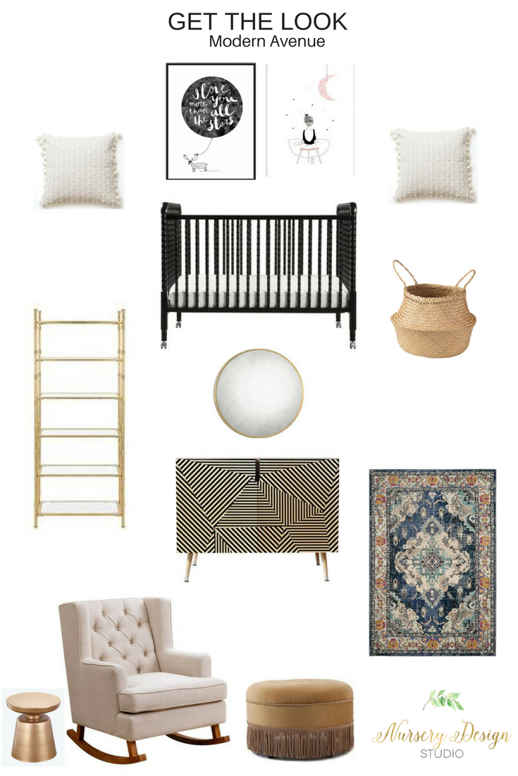 A modern Avenue Nursery Design with a modern edge featuring the beautiful Jenny Lind Crib.