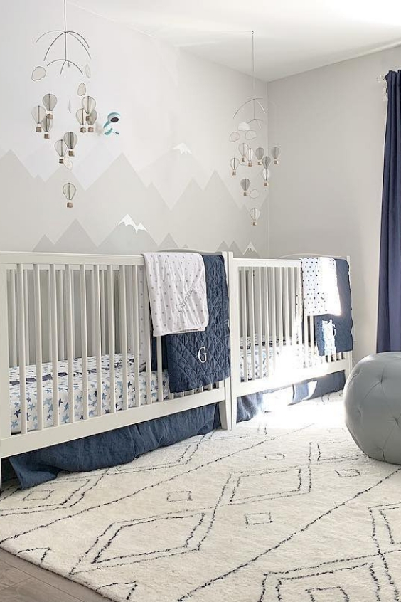 modern twin nursery design