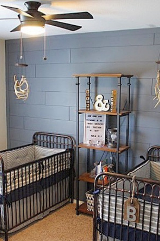 blue twin nursery design