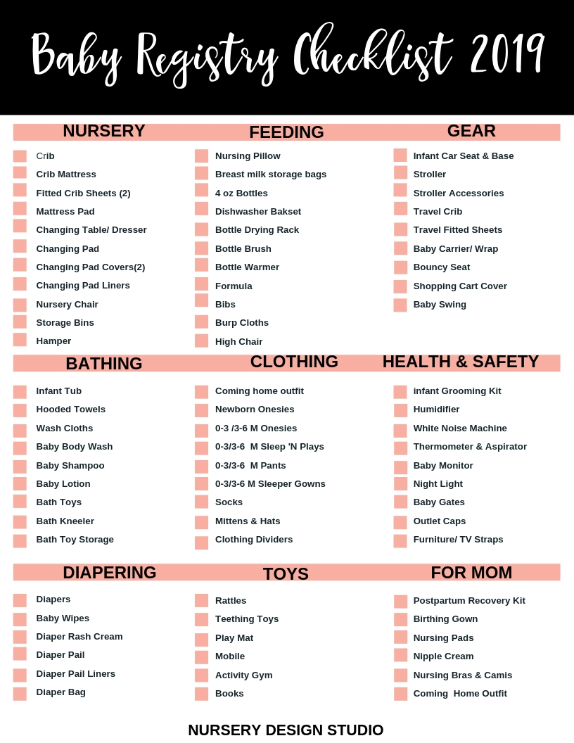 Baby Registry checklist and printable