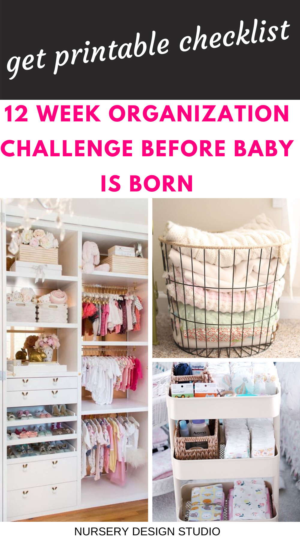 12 WEEK PRINTABLE CHECKLIST FOR 12 WEEK ORGANIZATION CHALLENGE BEFORE BABY