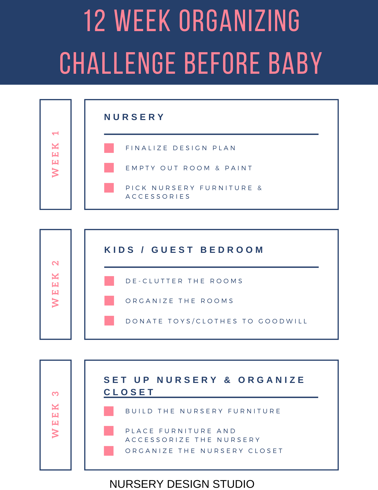 12 WEEK ORGANIZING CHALLENGE BEFORE BABY PRINTABLE CHECKLIST