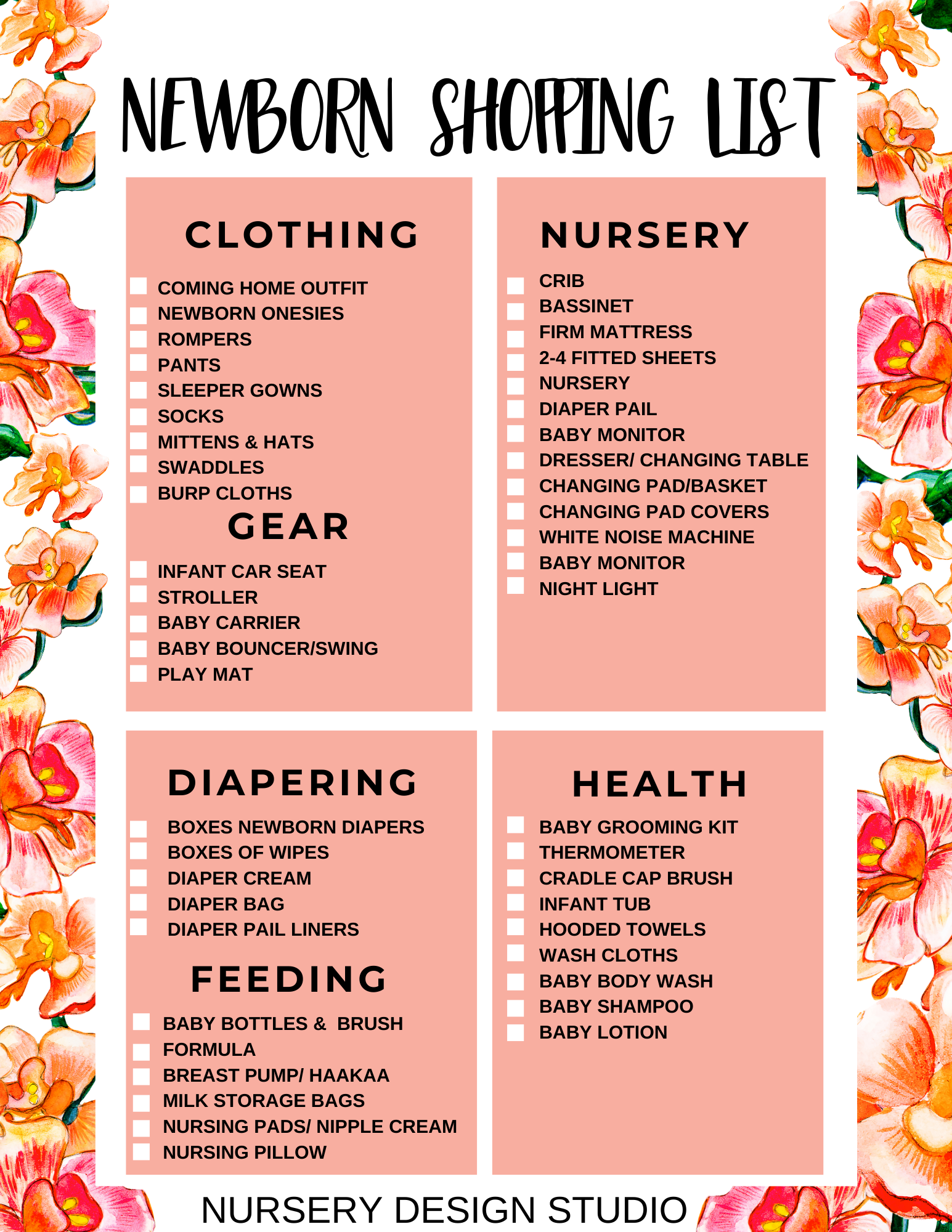 NEWBORN BABY SHOPPING LIST PRINTABLE PDF