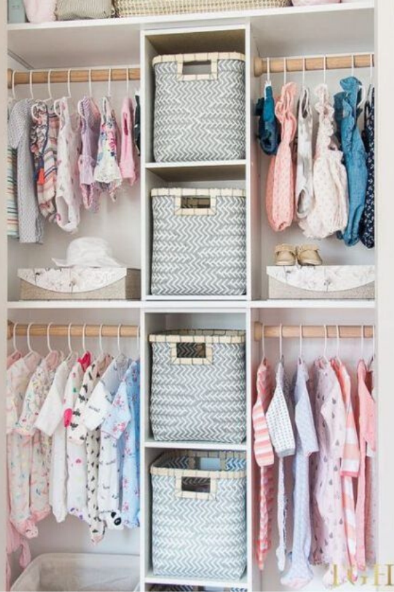 NURSERY STORAGE IDEAS FOR ORGANIZING  BABY'S CLOTHES