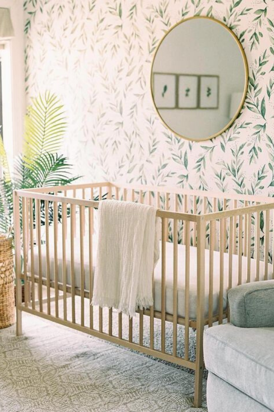 GREENERY BABY NURSERY IDEAS WITH BOTANICAL WALLPAPER