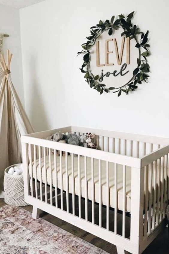 GREENERY BABY NURSERY IDEAS WITH WREATHS