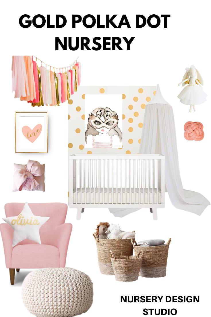 gold polka dot nursery