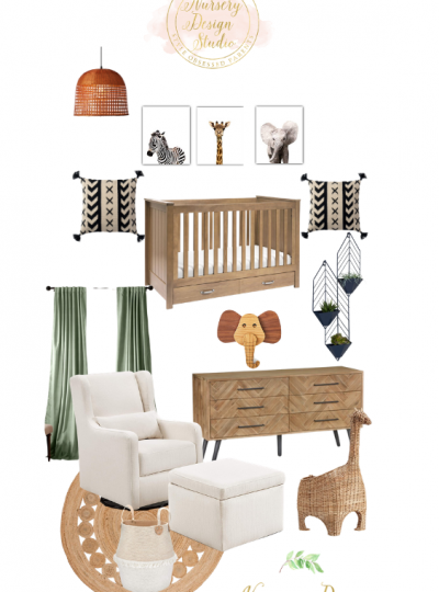safari nursery design board