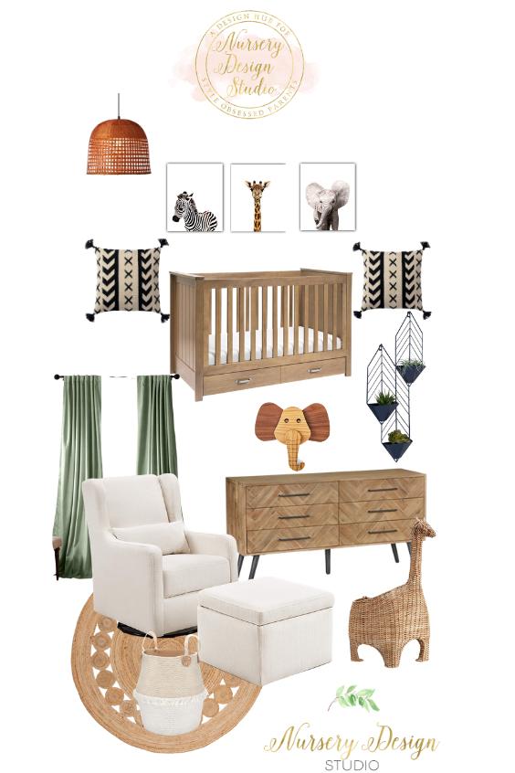 safari nursery design board