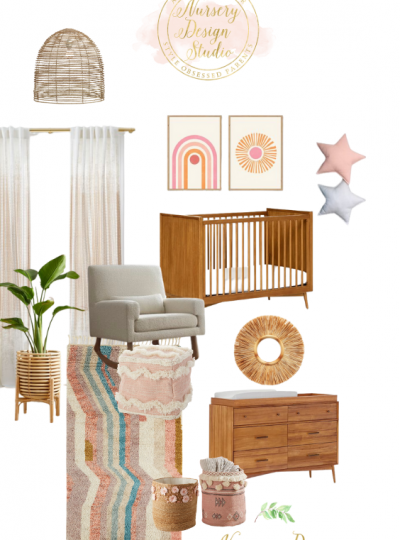 boho girls nursery design board