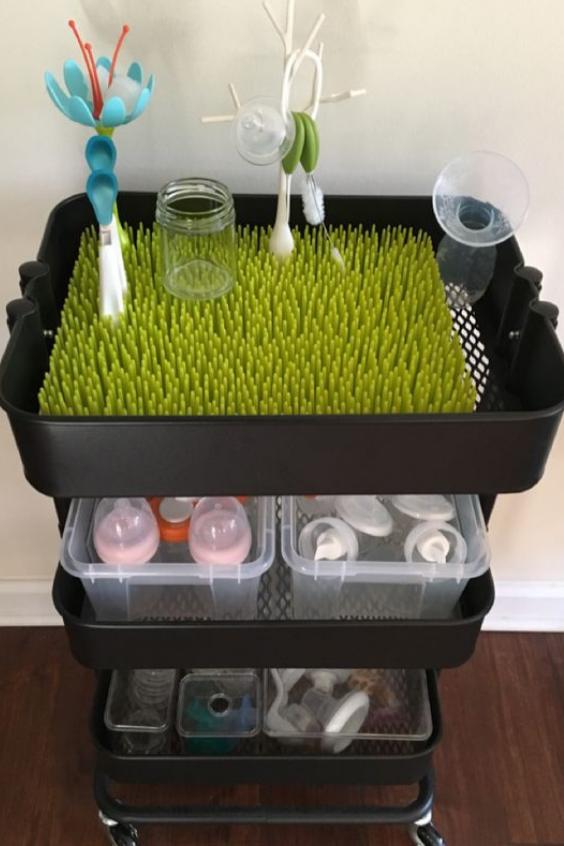 cart to store bottle feeding supplies