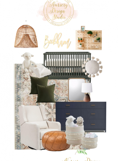 olive and navy nursery